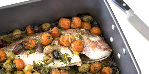 Flavoursome Mediterranean Baked Snapper recipe - thumbnail version