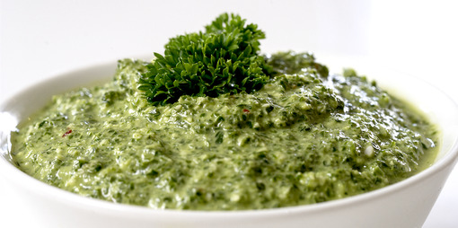 A dairy free parsley and lemon pesto with a zing that is naturally fresh and alive.  - thumbnail version