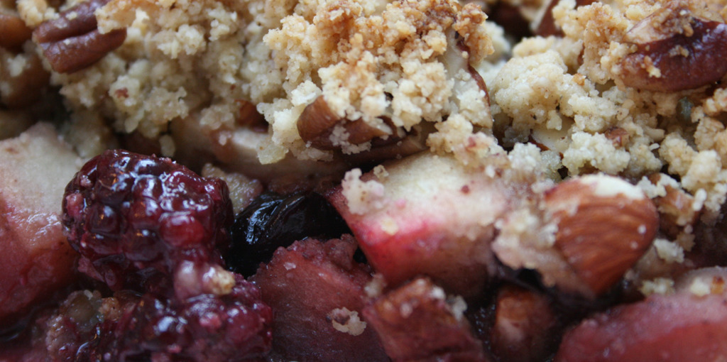 Gluten free and dairy free blackberry and apple crumble - thumbnail version