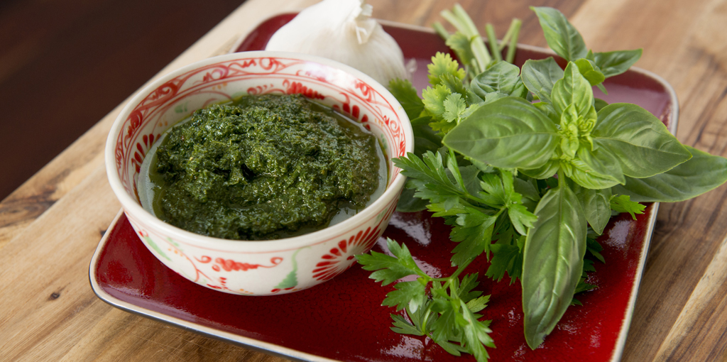Fresh herb pistou – dairy free and nut free pesto