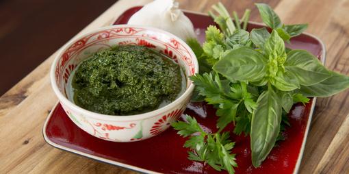 Fresh herb pistou – dairy free and nut free pesto - thumbnail version