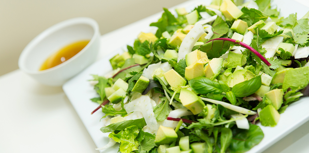 Fresh herb summer salad with avocado and a zingy citrus dressing