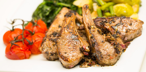 Yummy lamb chops marinated overnight in herbs - thumbnail version