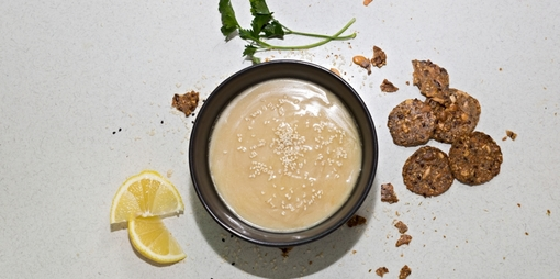 Dairy free deliciously creamy lemon tahini dressing - thumbnail version