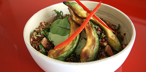 Warm gluten free quinoa and avocado salad - thumbnail version
