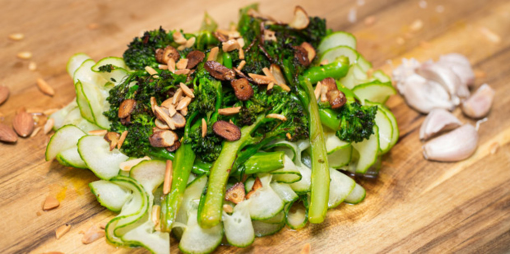 Gluten free cucumber noodle and grilled broccoli salad.
