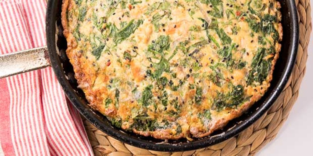 Dairy free salmon and spinach frittata