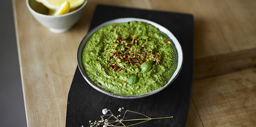 A dairy free chilli and basil pesto - thumbnail version