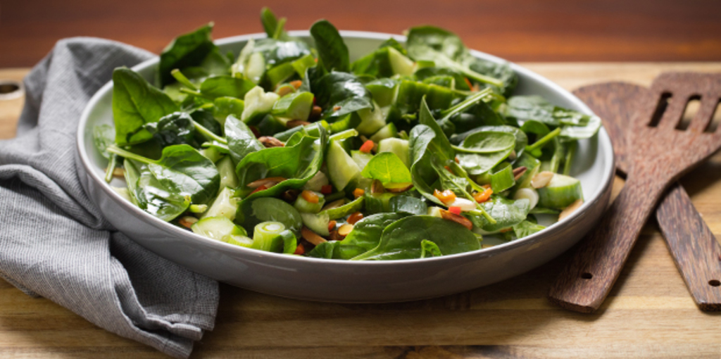 Baby spinach, cucumber and almond salad