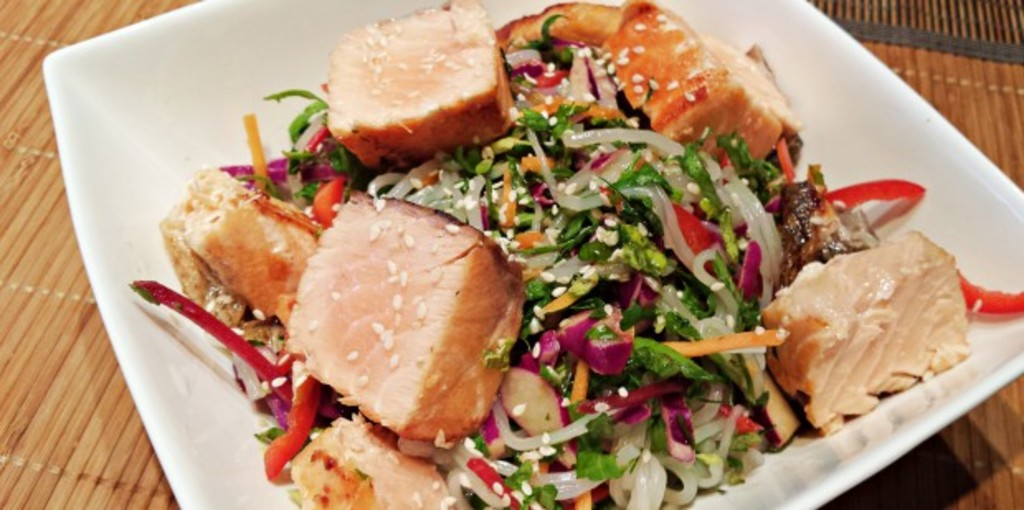 Gluten free Asian style trout and kelp noodle salad