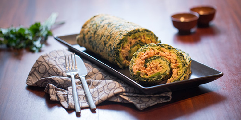 Gluten and dairy free spinach and salmon roulade