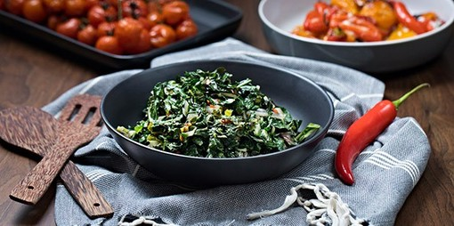 Silver beet (chard) and chilli stir fry - thumbnail version