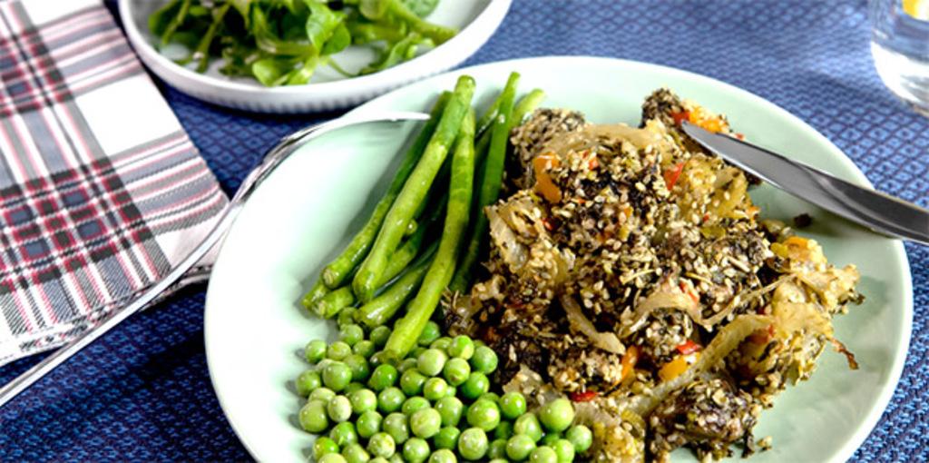 Sesame, fennel and lamb shoulder bake