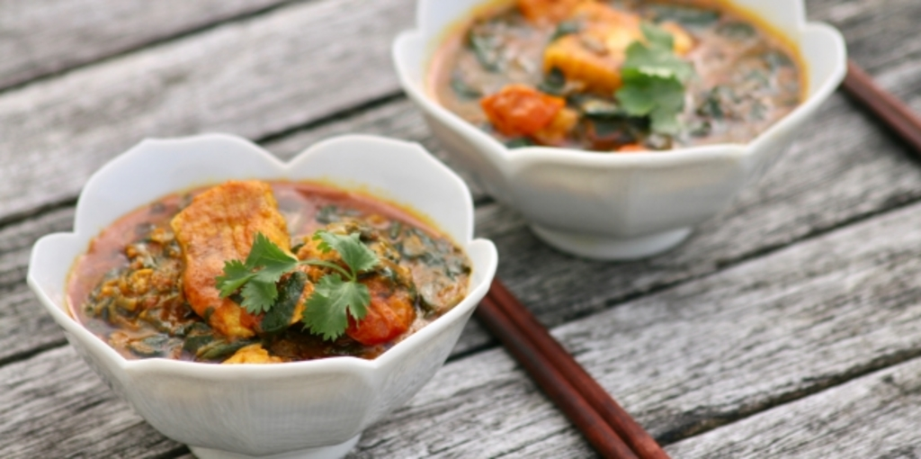 White fish red curry