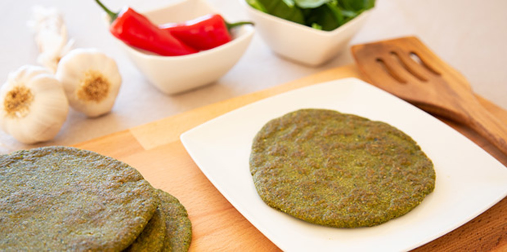 Gluten free spinach and flax meal flatbread