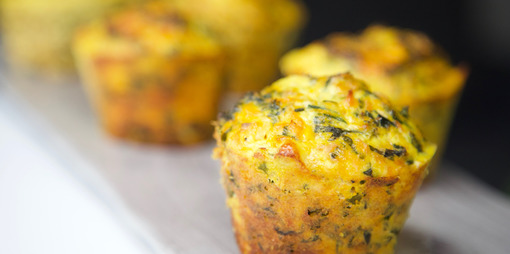 Gluten free, dairy free kale, pumpkin and protein muffins - thumbnail version