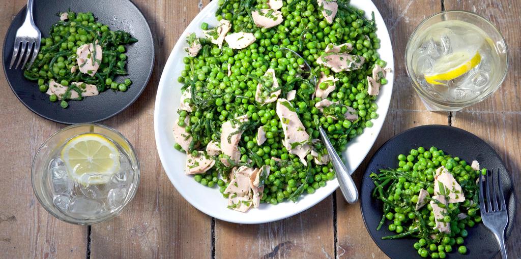 Salmon, pea and samphire salad