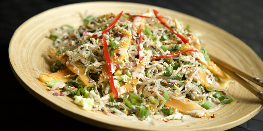Green papaya kelp noodle salad - thumbnail version