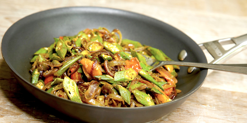 Vegetarian okra, tomato and onion side dish - thumbnail version