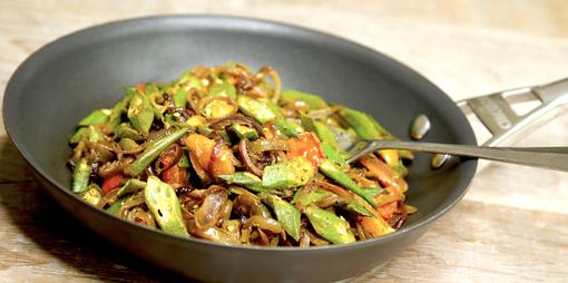 Vegetarian okra, tomato and onion side dish - thumbnail version