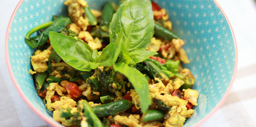 Healthy breakfast with scrambled egg whites, fish, fresh herbs and spices. - thumbnail version