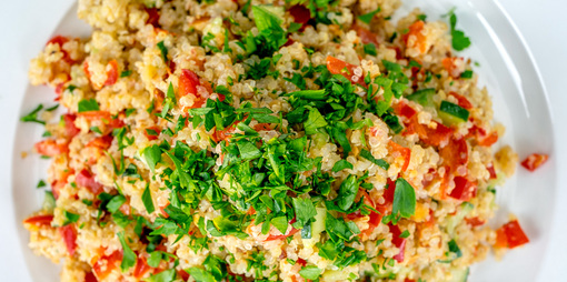 Protein packed gluten free quinoa tabbouleh - thumbnail version